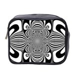 Black And White Ornamental Flower Mini Toiletries Bag 2-Side