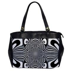 Black And White Ornamental Flower Office Handbags by designworld65