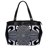 Black And White Ornamental Flower Office Handbags