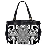 Black And White Ornamental Flower Office Handbags (2 Sides)  Front