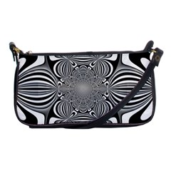Black And White Ornamental Flower Shoulder Clutch Bags by designworld65