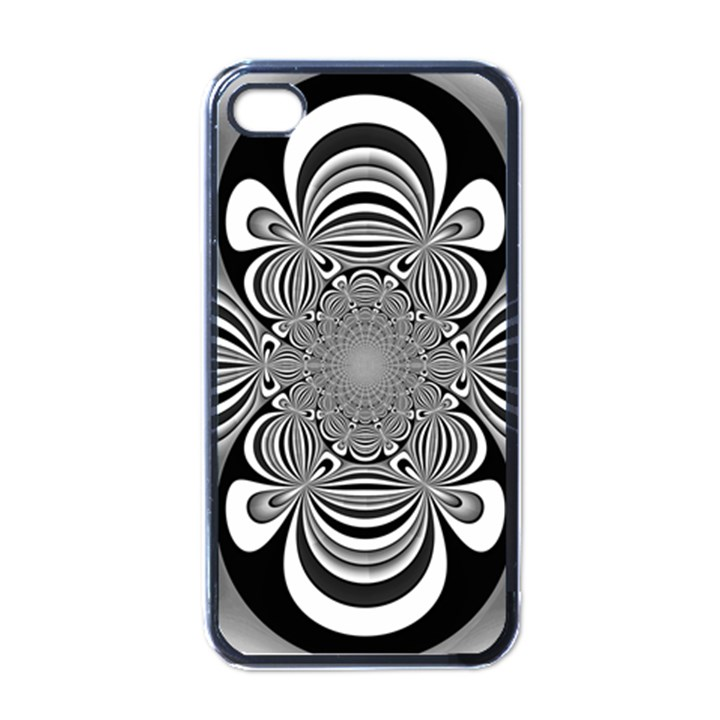 Black And White Ornamental Flower Apple iPhone 4 Case (Black)
