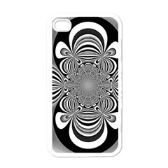 Black And White Ornamental Flower Apple Iphone 4 Case (white) by designworld65