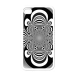 Black And White Ornamental Flower Apple iPhone 4 Case (White)