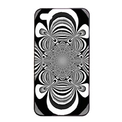 Black And White Ornamental Flower Apple Iphone 4/4s Seamless Case (black) by designworld65