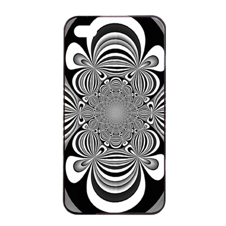 Black And White Ornamental Flower Apple iPhone 4/4s Seamless Case (Black)