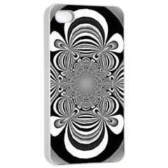 Black And White Ornamental Flower Apple Iphone 4/4s Seamless Case (white) by designworld65