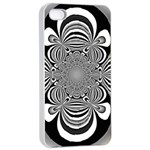 Black And White Ornamental Flower Apple iPhone 4/4s Seamless Case (White)