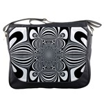 Black And White Ornamental Flower Messenger Bags