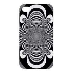 Black And White Ornamental Flower Apple Iphone 4/4s Premium Hardshell Case by designworld65