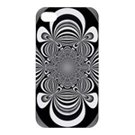 Black And White Ornamental Flower Apple iPhone 4/4S Premium Hardshell Case