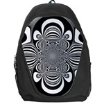 Black And White Ornamental Flower Backpack Bag