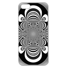 Black And White Ornamental Flower Apple Seamless Iphone 5 Case (clear) by designworld65