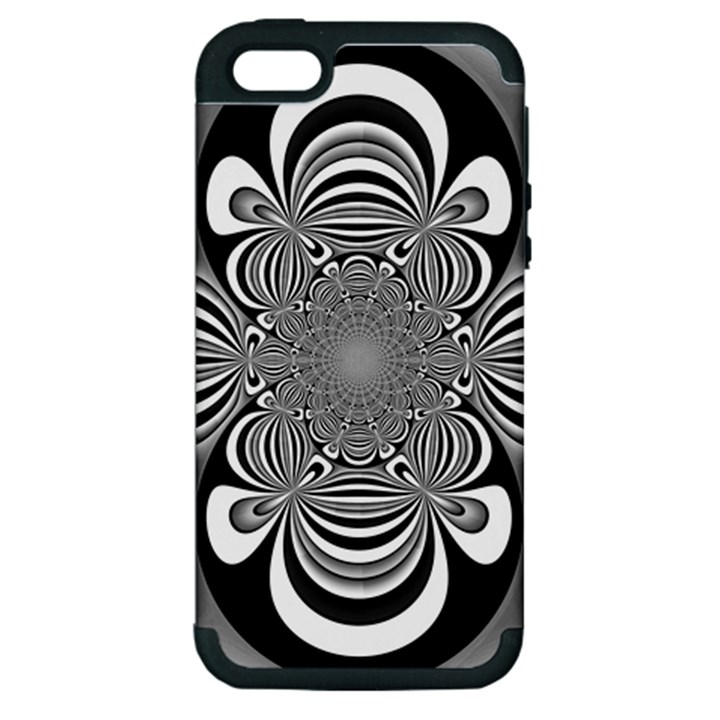 Black And White Ornamental Flower Apple iPhone 5 Hardshell Case (PC+Silicone)