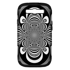 Black And White Ornamental Flower Samsung Galaxy S Iii Hardshell Case (pc+silicone) by designworld65