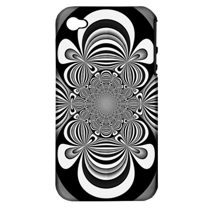 Black And White Ornamental Flower Apple iPhone 4/4S Hardshell Case (PC+Silicone)
