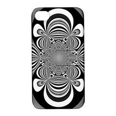 Black And White Ornamental Flower Apple Iphone 4/4s Hardshell Case With Stand by designworld65