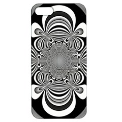 Black And White Ornamental Flower Apple Iphone 5 Hardshell Case With Stand by designworld65