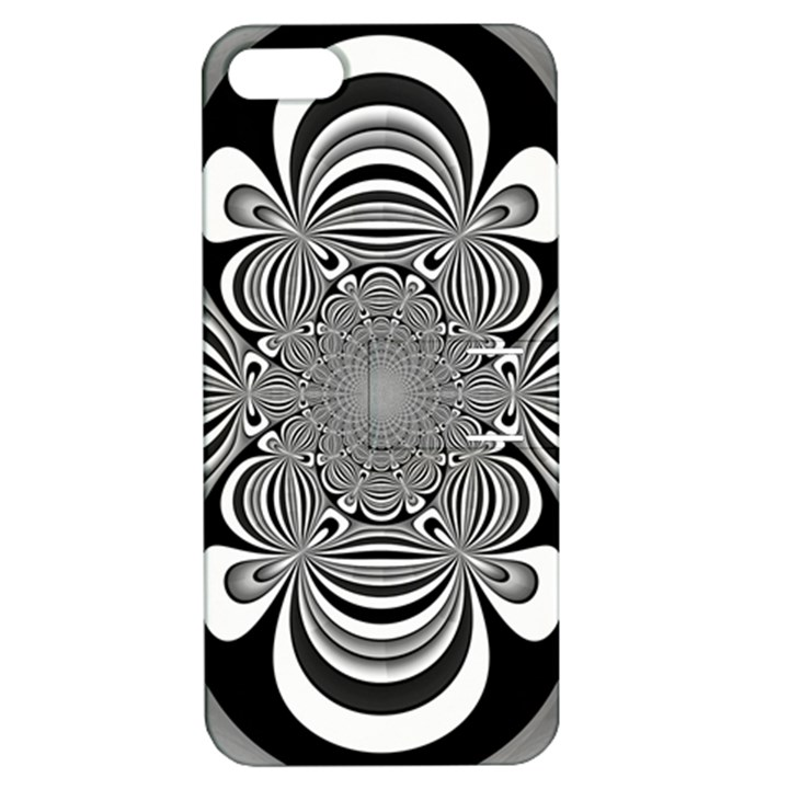 Black And White Ornamental Flower Apple iPhone 5 Hardshell Case with Stand