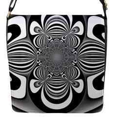 Black And White Ornamental Flower Flap Messenger Bag (s) by designworld65