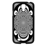 Black And White Ornamental Flower Samsung Galaxy S4 I9500/ I9505 Case (Black) Front