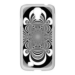 Black And White Ornamental Flower Samsung Galaxy S4 I9500/ I9505 Case (white)