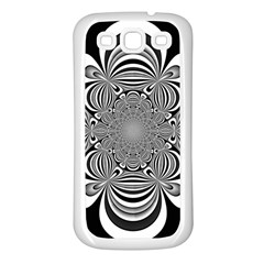 Black And White Ornamental Flower Samsung Galaxy S3 Back Case (white) by designworld65