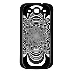 Black And White Ornamental Flower Samsung Galaxy S3 Back Case (black) by designworld65