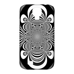 Black And White Ornamental Flower Samsung Galaxy S4 Classic Hardshell Case (pc+silicone) by designworld65