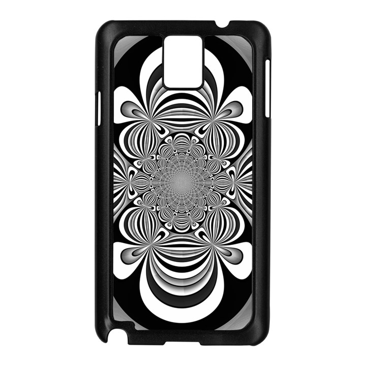 Black And White Ornamental Flower Samsung Galaxy Note 3 N9005 Case (Black)