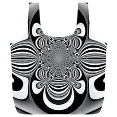 Black And White Ornamental Flower Full Print Recycle Bags (l)  by designworld65