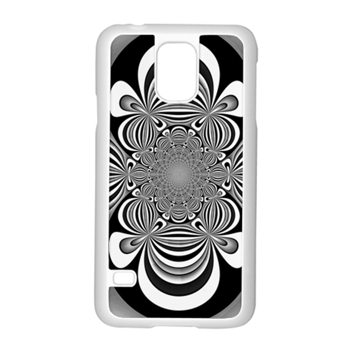 Black And White Ornamental Flower Samsung Galaxy S5 Case (White)
