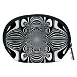 Black And White Ornamental Flower Accessory Pouches (Medium)  Back