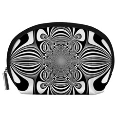 Black And White Ornamental Flower Accessory Pouches (large)  by designworld65