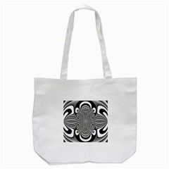 Black And White Ornamental Flower Tote Bag (white) by designworld65