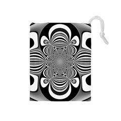 Black And White Ornamental Flower Drawstring Pouches (medium)  by designworld65