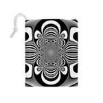 Black And White Ornamental Flower Drawstring Pouches (Medium)  Back