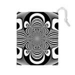 Black And White Ornamental Flower Drawstring Pouches (Large)  Front