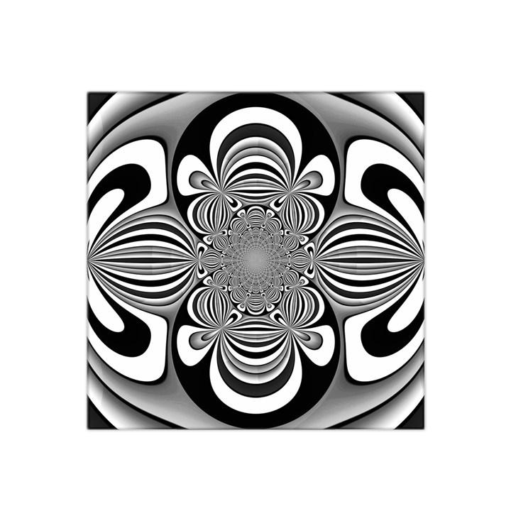 Black And White Ornamental Flower Satin Bandana Scarf