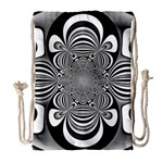 Black And White Ornamental Flower Drawstring Bag (Large) Front