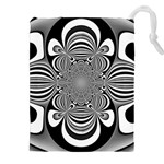 Black And White Ornamental Flower Drawstring Pouches (XXL) Front