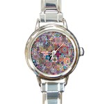 Ornamental Mosaic Background Round Italian Charm Watch