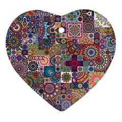 Ornamental Mosaic Background Ornament (heart)  by TastefulDesigns