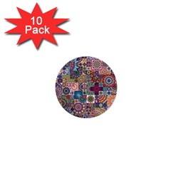 Ornamental Mosaic Background 1  Mini Buttons (10 Pack)  by TastefulDesigns