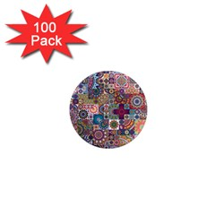 Ornamental Mosaic Background 1  Mini Magnets (100 Pack)  by TastefulDesigns