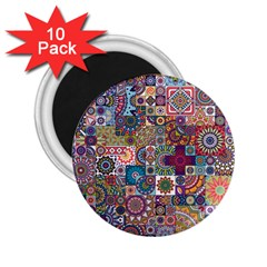 Ornamental Mosaic Background 2 25  Magnets (10 Pack)