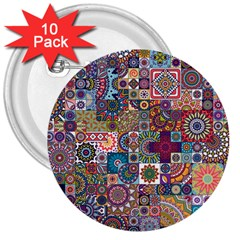 Ornamental Mosaic Background 3  Buttons (10 Pack)  by TastefulDesigns