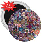 Ornamental Mosaic Background 3  Magnets (10 pack)  Front