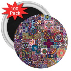 Ornamental Mosaic Background 3  Magnets (100 Pack) by TastefulDesigns