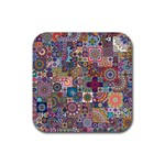Ornamental Mosaic Background Rubber Square Coaster (4 pack)  Front
